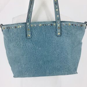 Maxon Collection Nappa Italian Leather Blue Tote